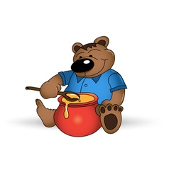 happy bear with honey pot vector image