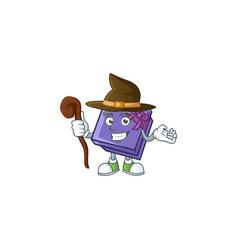 Happy halloween witch purple gift box cartoon vector