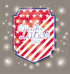 happy labor day with usa flag frame vector image
