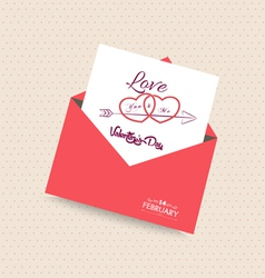 happy valentines day card with envelope heart vector image