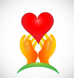 Hopeful hands giving love icon vector