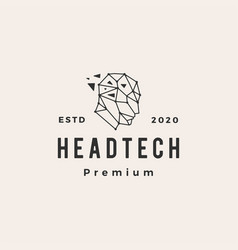 human head tech geometric hipster vintage logo vector image