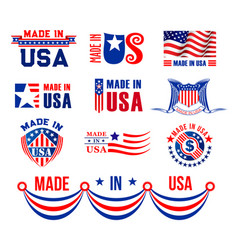 icons or bagdes for made in usa vector image