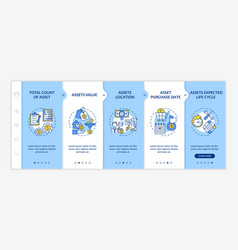 Investment inventory elements onboarding template vector