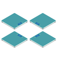 isometric bathroom scales on white background top vector image