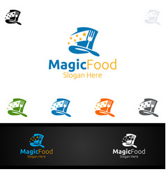 magic food logo for restaurant or cafe vector image