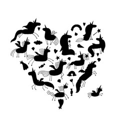 Magic unicorns collection black silhouette for vector