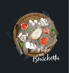 make your bruschetta all components are ready vector image