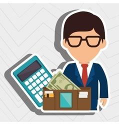 Man calculator wallet money vector