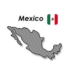 Mexico poster with monochrome map striped and vector