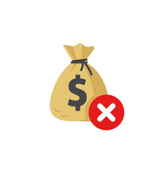 Money disapproved sign icon flat money bag vector