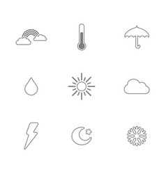 Monochrome set with weather icons vector