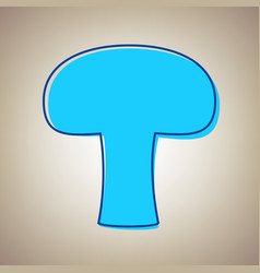 Mushroom simple sign sky blue icon with vector
