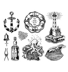 nautical adventure set sea lighthouse jellyfish vector image