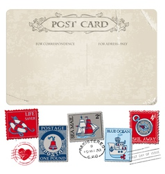 Nautical postcard and postage stamps vector