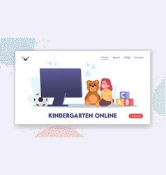 Online kindergarten landing page template baby vector