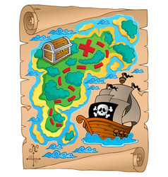 Parchment with treasure map 2 vector