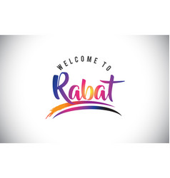 Rabat welcome to message in purple vibrant modern vector