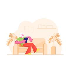 Relaxed senior white haired man sitting on sofa vector