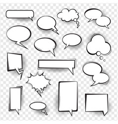 Retro comic empty speech bubbles set for message vector