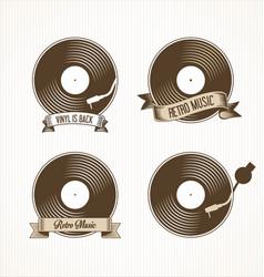 retro vinyl records badges vector image