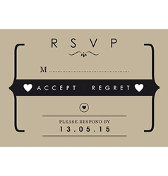 RSVP Wedding card mr and mrs theme vector