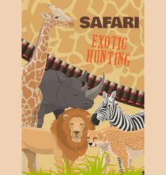safari hunting in africa wild animals vector image
