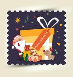 santa clausa gift box merry christmas and happy vector image
