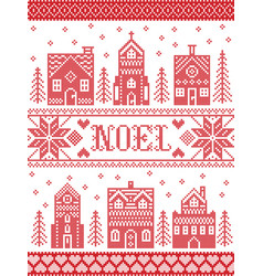 scandinavian christmas village pattern noel vector image