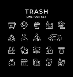 set line icons of trash vector image