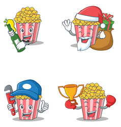 Set of popcorn character with beer gift plumber vector