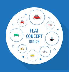 set of vehicle icons flat style symbols with bus vector image