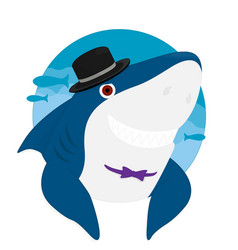 shark cartoon hat smile eps10 vector image