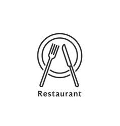 simple black thin line restaurant logo vector image