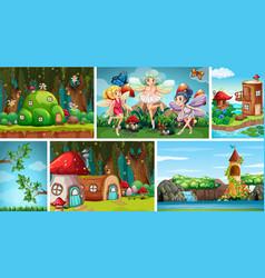 Six different scene fantasy world with fantasy vector