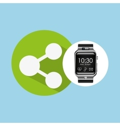 Smart watch on hand- share connected vector