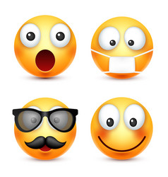 smileysmiling emoticon yellow face with emotions vector image