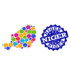 Social network map of niger with speech bubbles vector