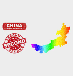 Spectrum mosaic inner mongolia map and distress vector