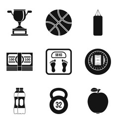 sport fight icons set simple style vector image