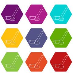 Stick washer ice hockey icons set 9 vector