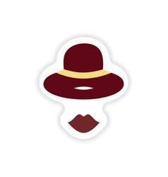 Stylish paper sticker on white background hat lips vector