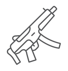 Submachine gun thin line icon army and military vector