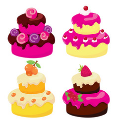 Two tier cakes vector