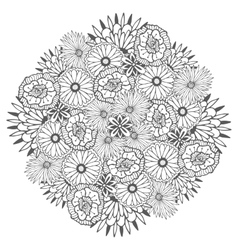 Unique mandala with flowers Ornamental vector