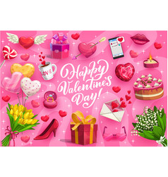 Valentines day gifts love hearts and flowers vector