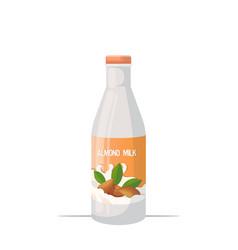 Vegan almond plant based milk glass bottle organic vector