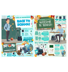 welcome to school posters education training icons vector image