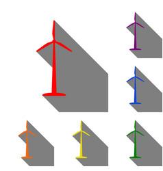 wind turbine logo or sign set of red orange vector image