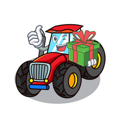 With gift tractor mascot cartoon style vector